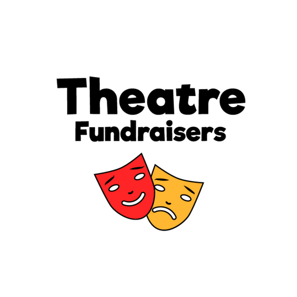 theatre fundraisers logo with red and orange laughing and frowning theatre masks