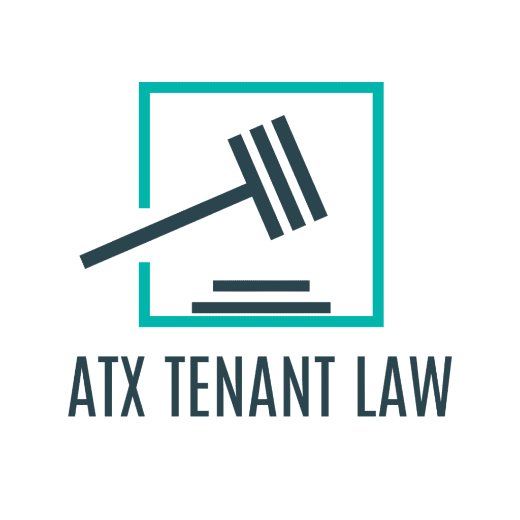 atx tenant law logo with hammer