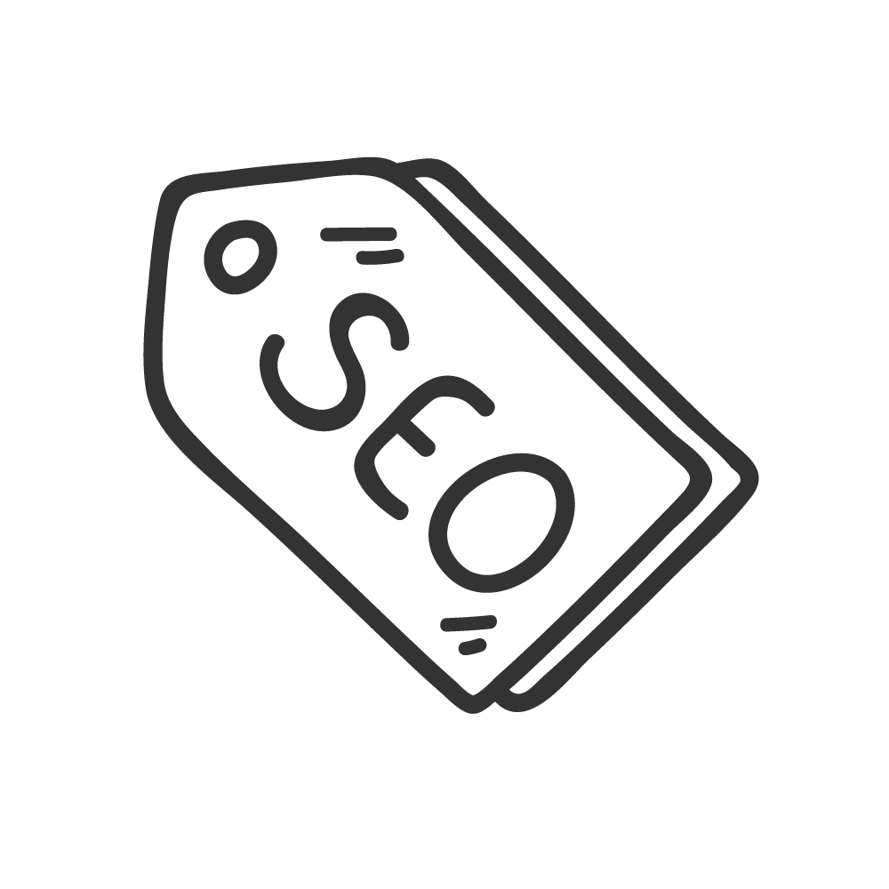 dark grey seo tag icon