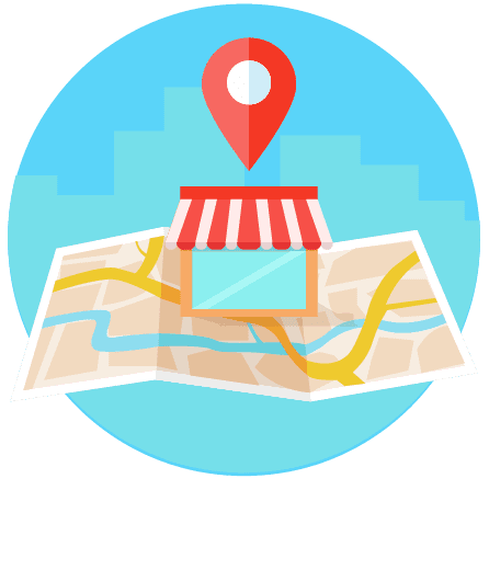 local seo map. storefront on top of map with map icon hovering above