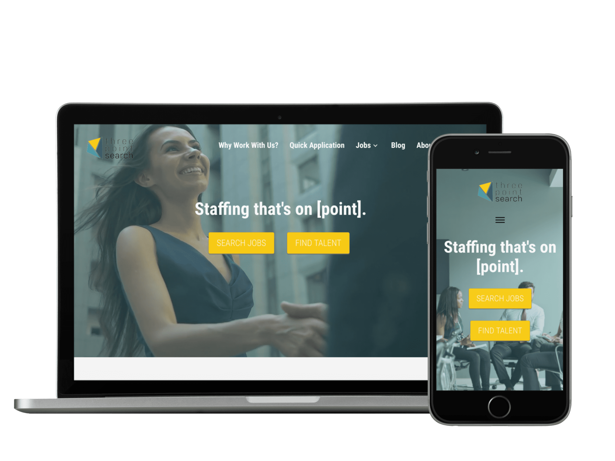 Client: Three Point Search   Industry: Corporate Recruiting    Platform: WordPress