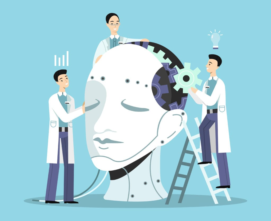 Artificial intelligence vector illustration of scientists men building human head with cogwheels and wires. Digital brain or android robot mind development technology