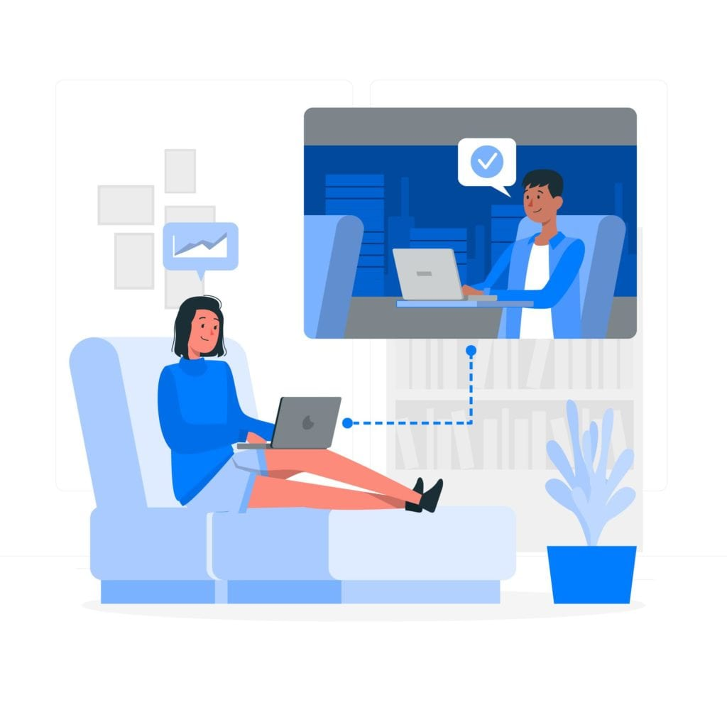 woman lounging while attending a remote meeting