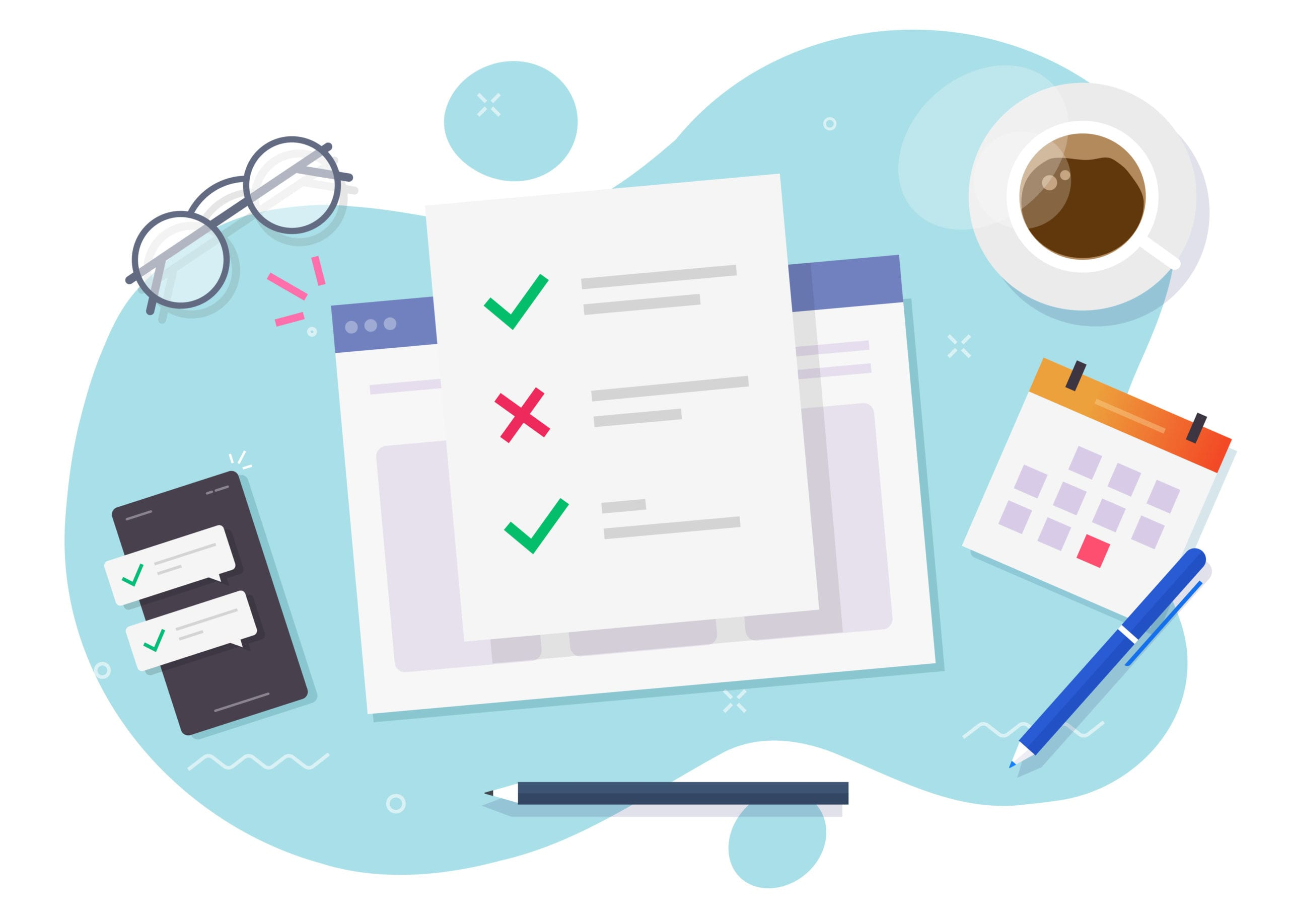 Survey form online check list document on study workplace or website learning exam results on table desk top view vector flat cartoon, web education work place concept, questionnaire report design
